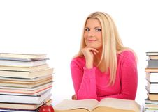 Young Student Girl With Lots Of Books Stock Photos