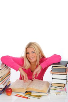 Free Young Student Girl With Lots Of Books Royalty Free Stock Photo - 14885545
