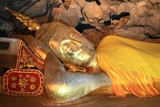 The Reclining Buddha In The Cave Of Thailand Stock Photo