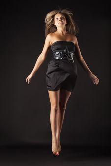 Free Beautiful Dancer Jumping On Dark Stock Image - 14885781
