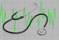 Free Stethoscope On Heart Monitor Graph Royalty Free Stock Images - 14885949
