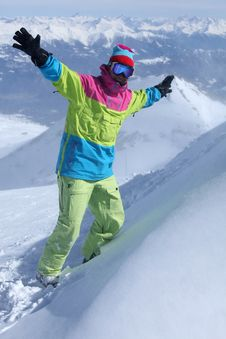 Snowboarder On The Top Of The Mountain Royalty Free Stock Photography