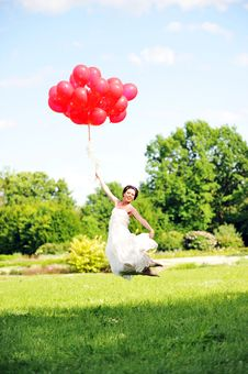 Bride  With Balloons Stock Photos