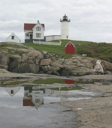 Free Cape Neddick Lighthouse Reflection Royalty Free Stock Photography - 14889037