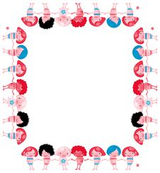 Free Vector Chidren Frame Banner Border Happy Kids Stock Photography - 14889202