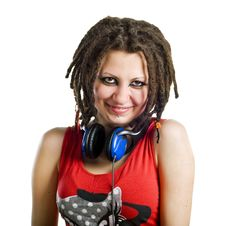 Free Young Woman With Headphones Royalty Free Stock Photo - 14889235