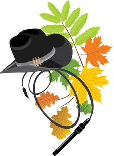 Free Cowboy Hat And Whip On The Autumn Background Stock Images - 14889324