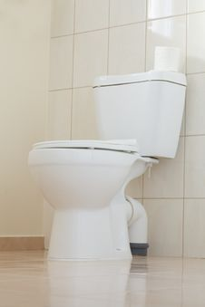 White Toilet In A Bathroom Royalty Free Stock Images