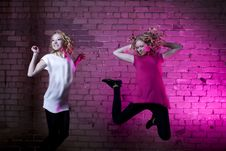 Free Teenage Girl Jump Against Purple Background Royalty Free Stock Photos - 14891108