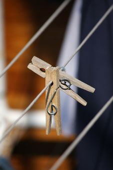 Free Two Wooden Clothespins Stock Photos - 14892133