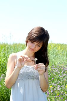 Free The Girl Guesses On A Camomile Flower Royalty Free Stock Photos - 14892538
