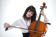 Free Portrait Of Attractive Girl Playing Cello Royalty Free Stock Photo - 14892745