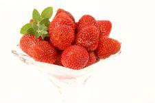 Strawberries & Lemon Balm Twig Royalty Free Stock Photos