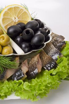 Free A Composition With Smoked Herring Pieces Stock Photo - 14893130