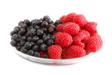 The Berries Raspberries And Blueberries Royalty Free Stock Image