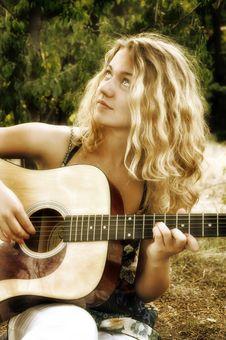Free Teenage  Playing Guitar Stock Image - 14893761