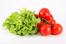 Free Lettuce Green And Red Tomatoeon A White Background Stock Image - 14893821