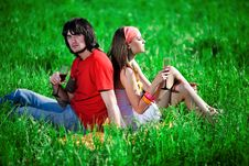 Free Boy And Nice Girl With Wineglasses On Grass Royalty Free Stock Photos - 14893878