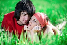 Free Nice Girl And Boy On Grass Royalty Free Stock Photography - 14894297