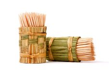 Free Wooden Toothpicks In An Original Wattled Basket Stock Images - 14894364