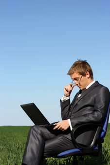Free �oung Guy Is Working Outdoors Royalty Free Stock Image - 14894446