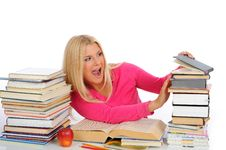 Free Portrait Of Young Student Girl With Lots Of Books Royalty Free Stock Images - 14894469
