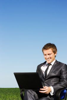 Free Successful Businessman In The Field, With Glasses Stock Images - 14894504