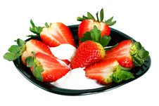 Free Pitahaya Strawberries And Cream On A Black Plate Royalty Free Stock Photo - 14895055