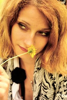 Free Mysterious Girl With A Flower Stock Photo - 14895580