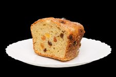 Free Fruitcake On White Plate Royalty Free Stock Photos - 14896288
