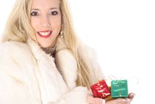 Free Happy Blonde Holding Presents Royalty Free Stock Images - 14896759