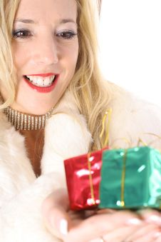 Free Happy Blonde Holding Presents Vertical Upclose Stock Photos - 14896763