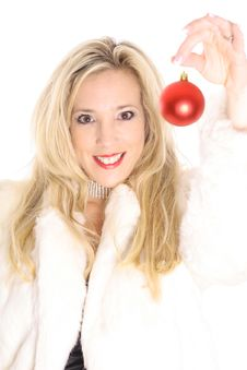 Free Gorgeous Blonde In Fur Holding An Christmas Orname Stock Photo - 14896780