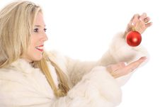 Free Gorgeous Blonde In Fur Holding An Ornament Stock Photography - 14896802