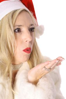 Free Gorgeous Santa Woman Blowing Kiss Stock Images - 14896824
