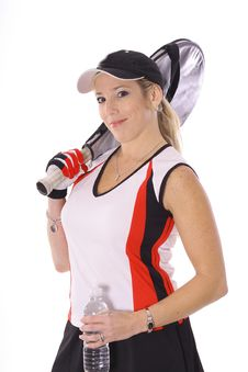 Free Tennis Woman With Bottled Water And Racket Royalty Free Stock Photos - 14896958