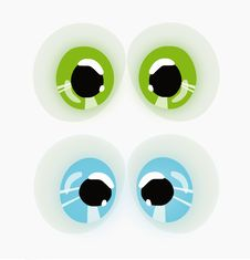 Two Pairs Eyes, Blue And Green