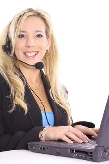 Free Gorgeous Blonde At Work On Computer Royalty Free Stock Photography - 14897607