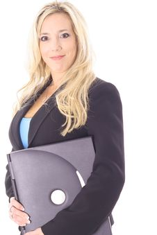 Free Woman Holding A Laptop Stock Photography - 14897722