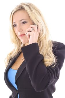Free Blonde In Business Suit On Cellphone Royalty Free Stock Images - 14897739
