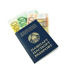 Passport With Euro Banknotes Stock Photos
