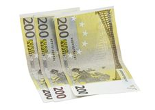 Free 200 Euro Banknotes Over White Stock Image - 14898521