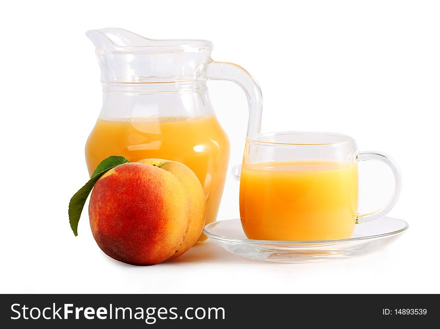 Ripe peach and fresh in a glass