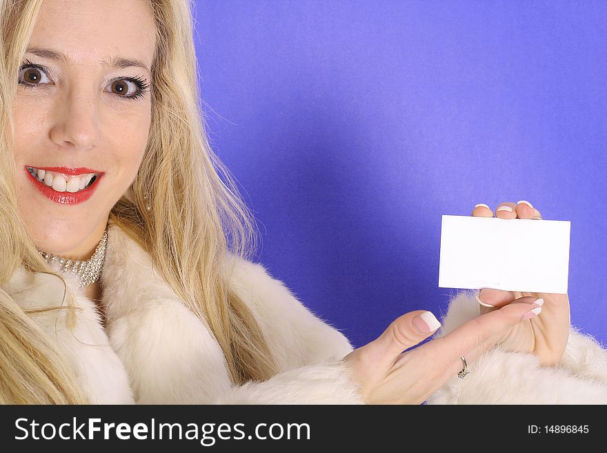 Blonde holding blank business card