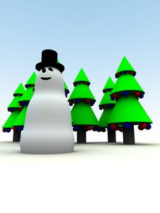 Free Snowman And Christmas Trees 17 Royalty Free Stock Photo - 1492645