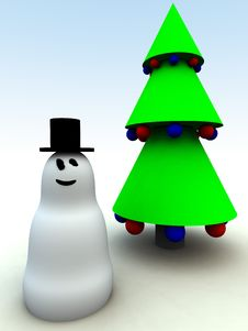 Free Snowman And Christmas Trees 3 Stock Photo - 1492650