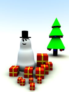 Snowman And Christmas Presents 4 Royalty Free Stock Photos
