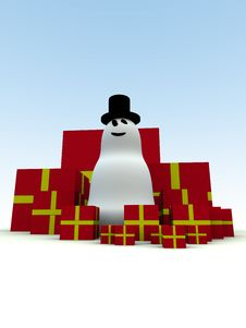 Free Snowman And Christmas Presents 3 Stock Images - 1492664