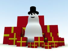 Free Snowman And Christmas Presents 4 Royalty Free Stock Image - 1492666