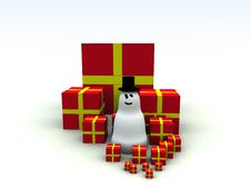 Free Snowman And Christmas Presents 5 Stock Photo - 1492670